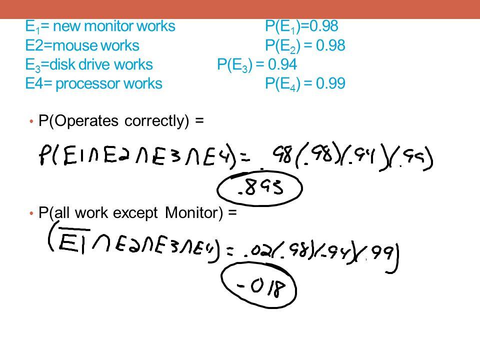 E 1 = new monitor works P(E 1 )=0.98 E2=mouse worksP(E 2 ) = 0.98 E 3 =disk drive worksP(E 3 ) = 0.94 E4= processor works P(E 4 ) = 0.99 P(Operates co