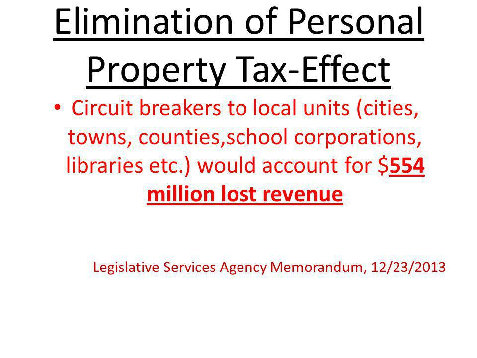 Elimination of Personal Property Tax-Effect Tax shift to real property owners would account for $350 million Legislative Services Agency Memorandum, 12/23/2013