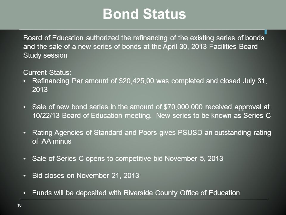 18 Bond Status Board of Education authorized the refinancing of the existing series of bonds and the sale of a new series of bonds at the April 30, 2013 Facilities Board Study session Current Status: Refinancing Par amount of $20,425,00 was completed and closed July 31, 2013 Sale of new bond series in the amount of $70,000,000 received approval at 10/22/13 Board of Education meeting.