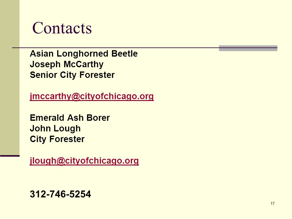 Contacts 17 Asian Longhorned Beetle Joseph McCarthy Senior City Forester jmccarthy@cityofchicago.org Emerald Ash Borer John Lough City Forester jlough@cityofchicago.org 312-746-5254