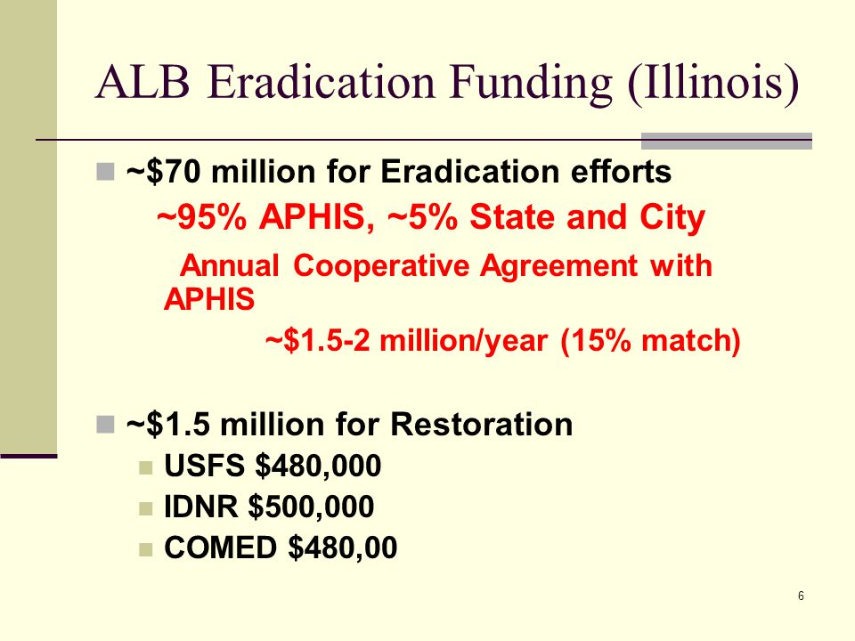 6 ALB Eradication Funding (Illinois) ~$70 million for Eradication efforts ~95% APHIS, ~5% State and City Annual Cooperative Agreement with APHIS ~$1.5-2 million/year (15% match) ~$1.5 million for Restoration USFS $480,000 IDNR $500,000 COMED $480,00