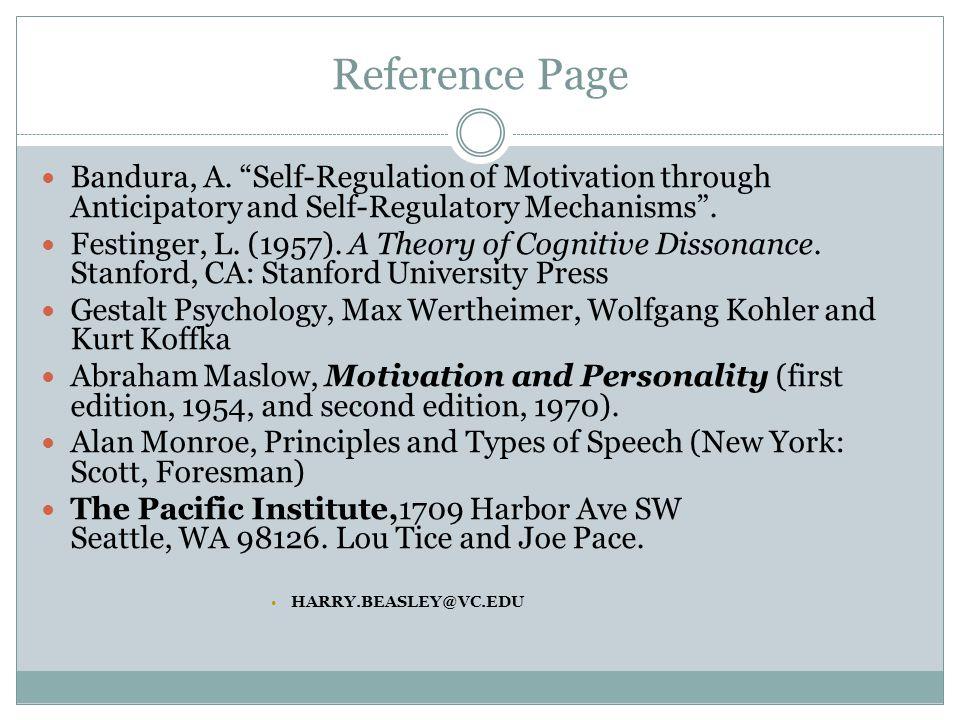 Reference Page Bandura, A.