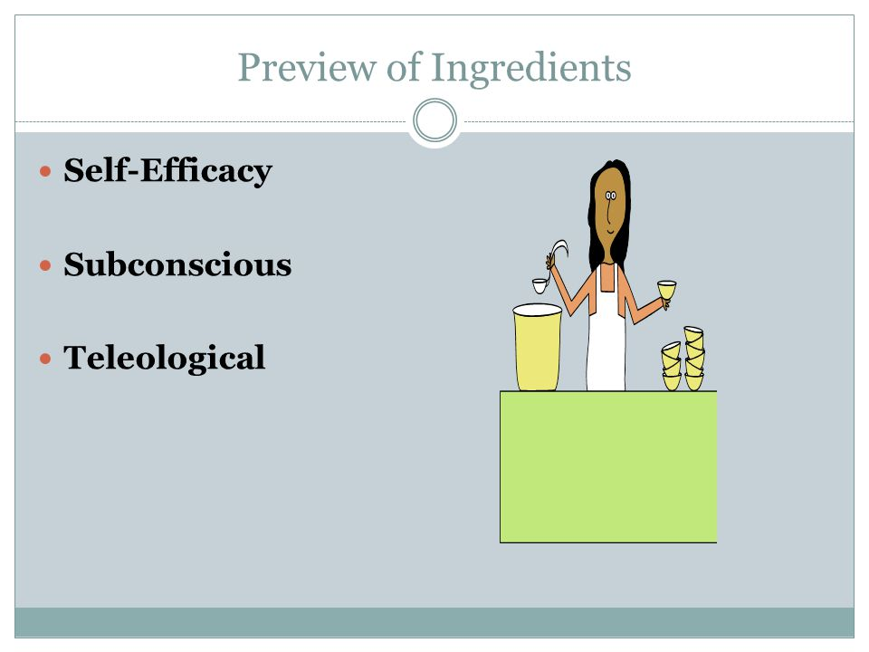 Preview of Ingredients Self-Efficacy Subconscious Teleological