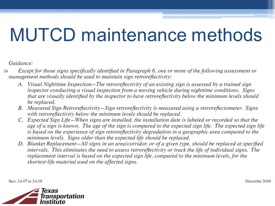 MUTCD maintenance methods