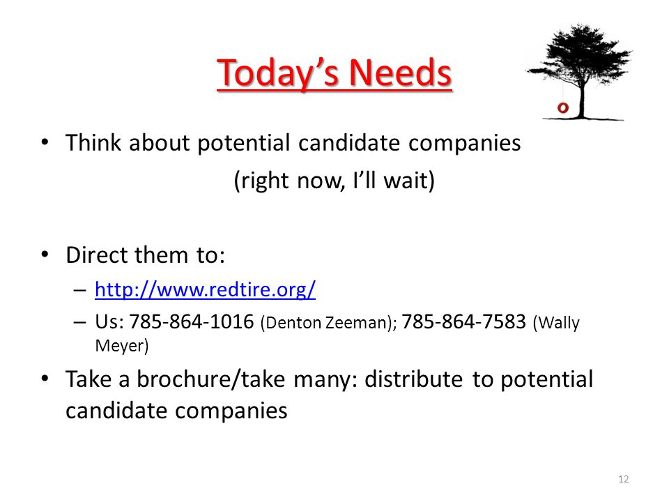 Todays Needs Think about potential candidate companies (right now, Ill wait) Direct them to: – http://www.redtire.org/ http://www.redtire.org/ – Us: 785-864-1016 (Denton Zeeman); 785-864-7583 (Wally Meyer) Take a brochure/take many: distribute to potential candidate companies 12