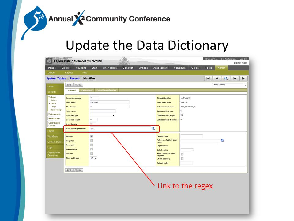 Update the Data Dictionary Link to the regex
