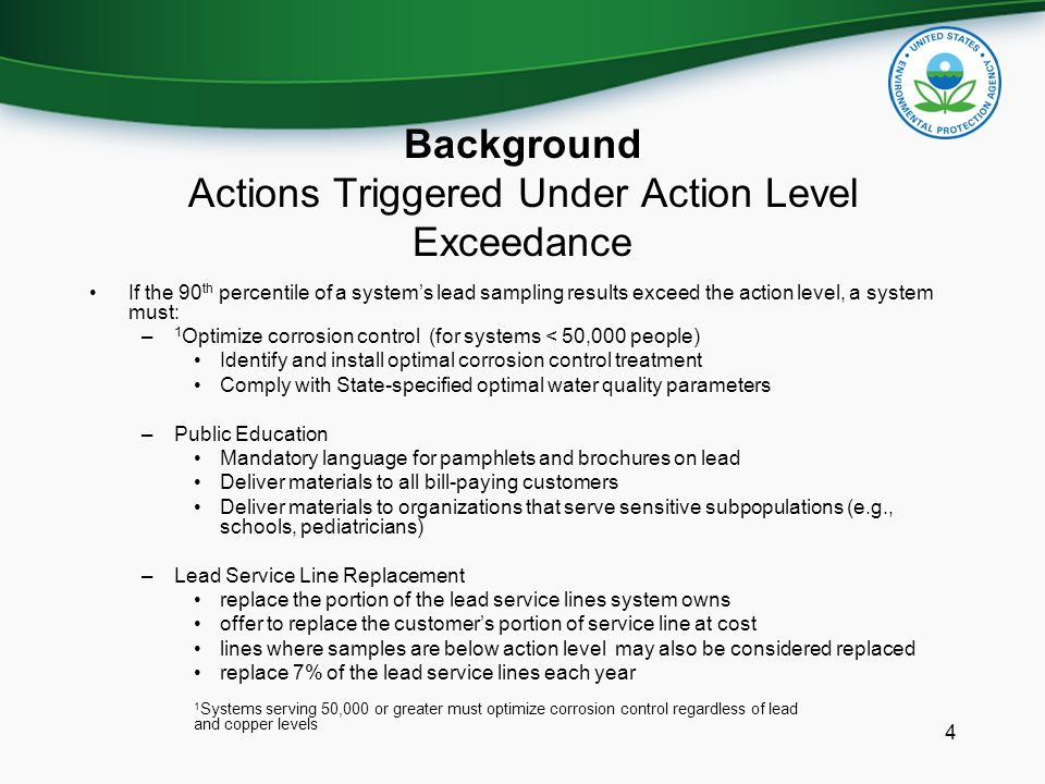 Key Areas for Rule Revisions Sample Site Selection Criteria Lead Sample Protocol Public Education for Copper Measures to Ensure Optimal Corrosion Control Treatment Lead Service Line Replacement 5