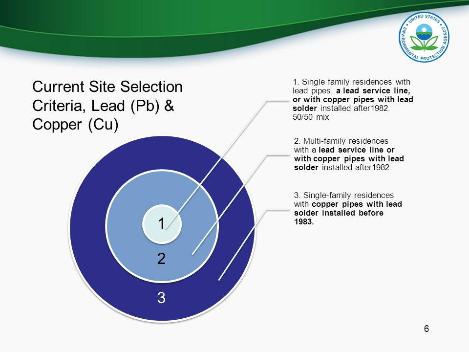 6 Current Site Selection Criteria, Lead (Pb) & Copper (Cu) 3 1. Single family residences with lead pipes, a lead service line, or with copper pipes wi
