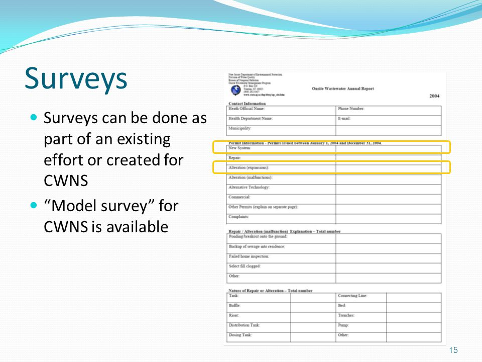 Surveys Surveys can be done as part of an existing effort or created for CWNS Model survey for CWNS is available 15