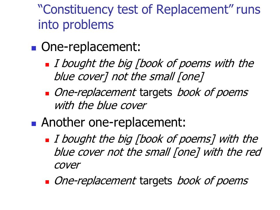 Constituency test of Replacement runs into problems One-replacement: I bought the big [book of poems with the blue cover] not the small [one] One-replacement targets book of poems with the blue cover Another one-replacement: I bought the big [book of poems] with the blue cover not the small [one] with the red cover One-replacement targets book of poems