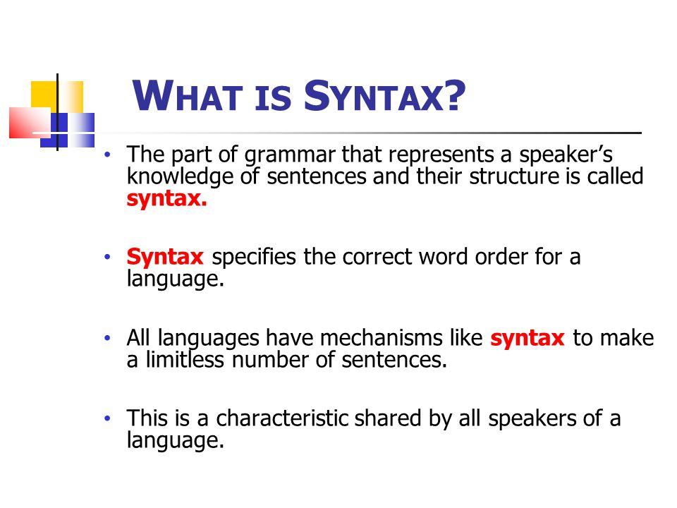 W HAT IS S YNTAX .