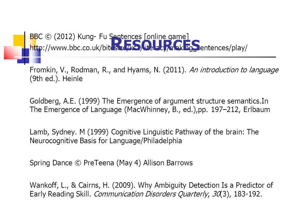 BBC © (2012) Kung- Fu Sentences [online game] http://www.bbc.co.uk/bitesize/ks1/literacy/making_sentences/play/ Fromkin, V., Rodman, R., and Hyams, N.