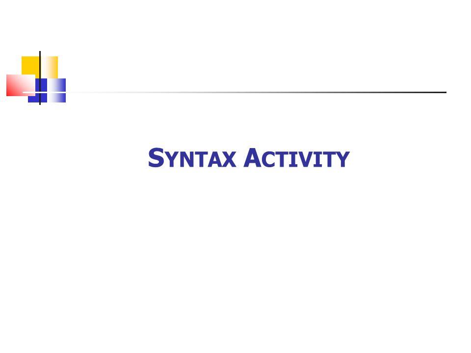 S YNTAX A CTIVITY