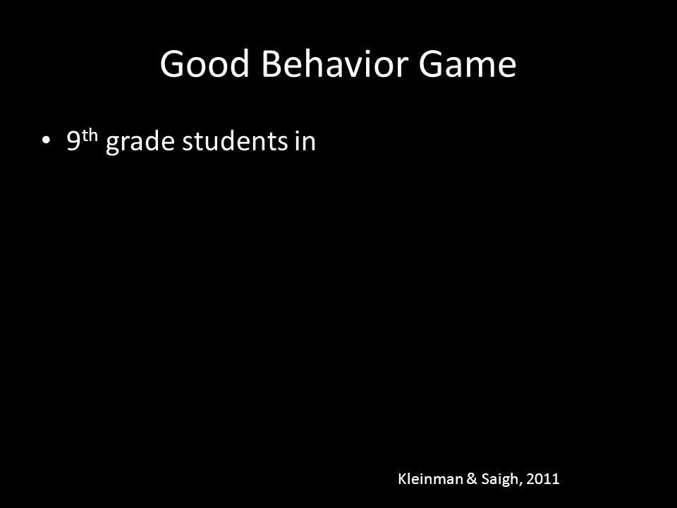 Good Behavior Game 9 th grade students in Kleinman & Saigh, 2011