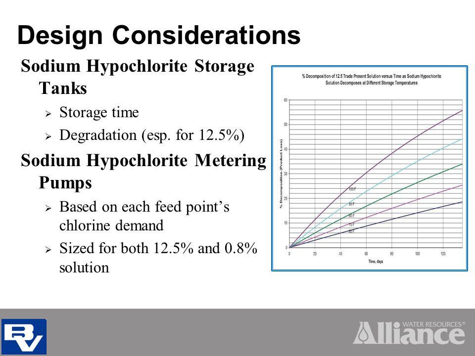 Design Considerations Sodium Hypochlorite Storage Tanks Storage time Degradation (esp.