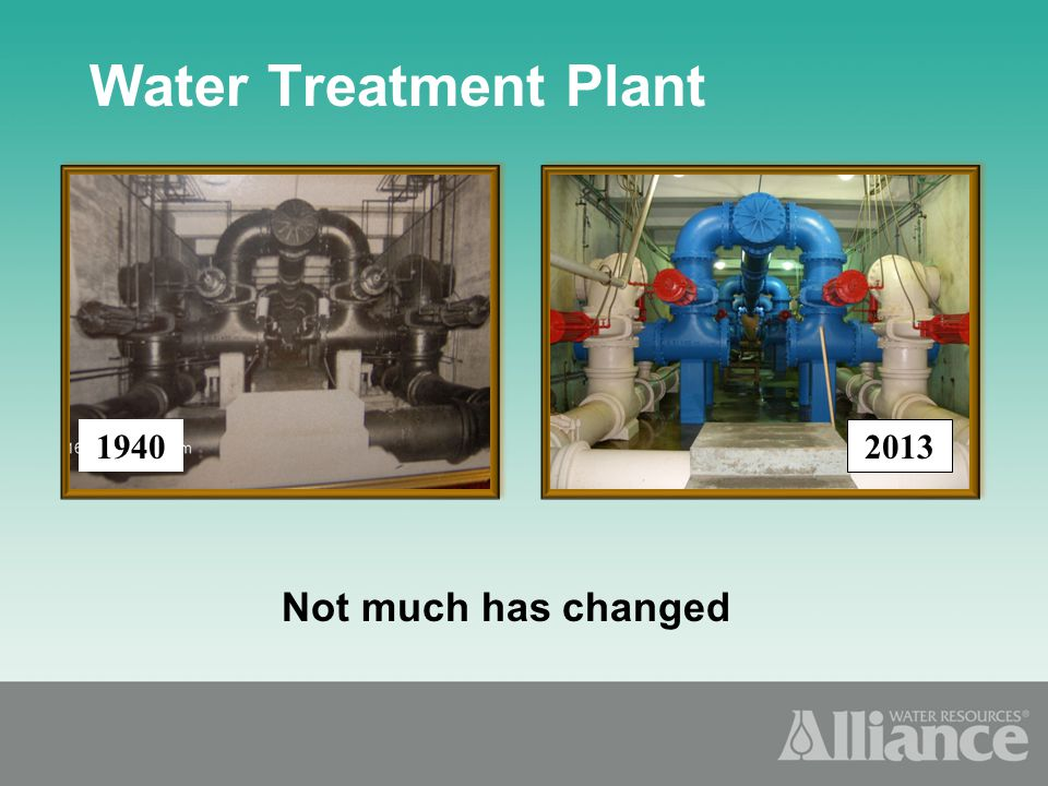 Not much has changed Water Treatment Plant 1940 2013