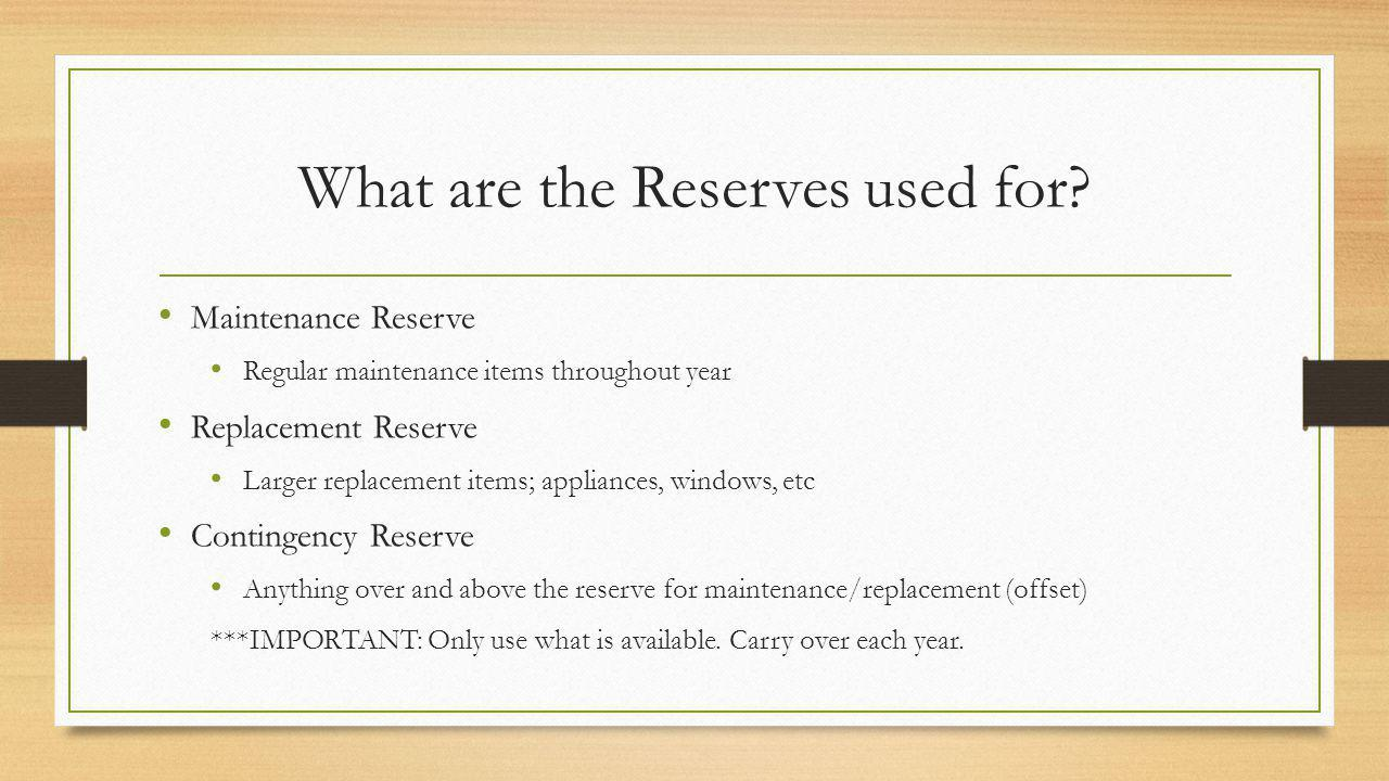 What are the Reserves used for.