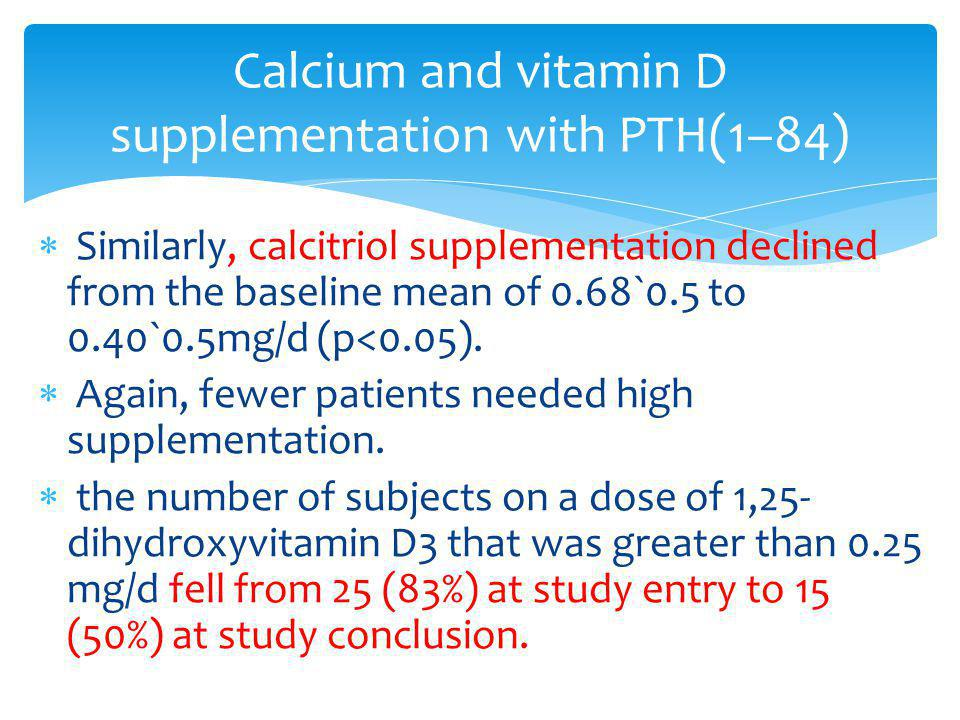 Similarly, calcitriol supplementation declined from the baseline mean of 0.68`0.5 to 0.40`0.5mg/d (p<0.05). Again, fewer patients needed high suppleme