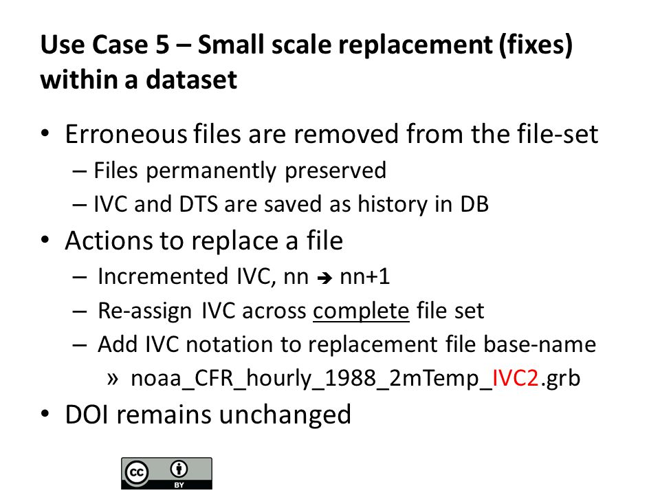 Use Case 5 – Small scale replacement (fixes) within a dataset Erroneous files are removed from the file-set – Files permanently preserved – IVC and DTS are saved as history in DB Actions to replace a file – Incremented IVC, nn nn+1 – Re-assign IVC across complete file set – Add IVC notation to replacement file base-name » noaa_CFR_hourly_1988_2mTemp_IVC2.grb DOI remains unchanged