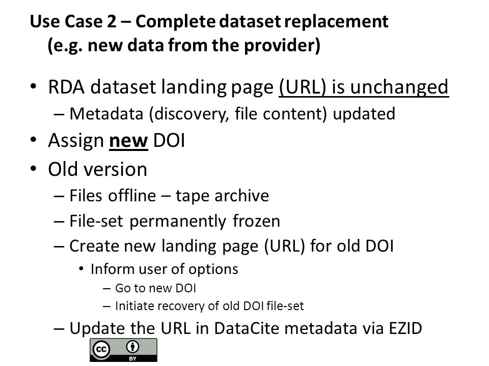 Conclusions Managing DOIs for a dynamic archive has complications – Full dataset replacements – Dataset retirements – Routine dataset extension – Stewardship improvements – data fixes, patches, etc Implementation – keep records for each file, including: – DOI – Internal Version Control – Date and Time Stamp Provide users options to create citations, base on ESIP recommendations