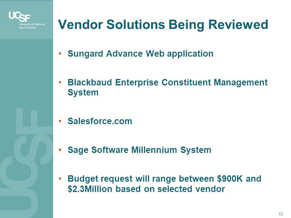 Vendor Solutions Being Reviewed Sungard Advance Web application Blackbaud Enterprise Constituent Management System Salesforce.com Sage Software Millen