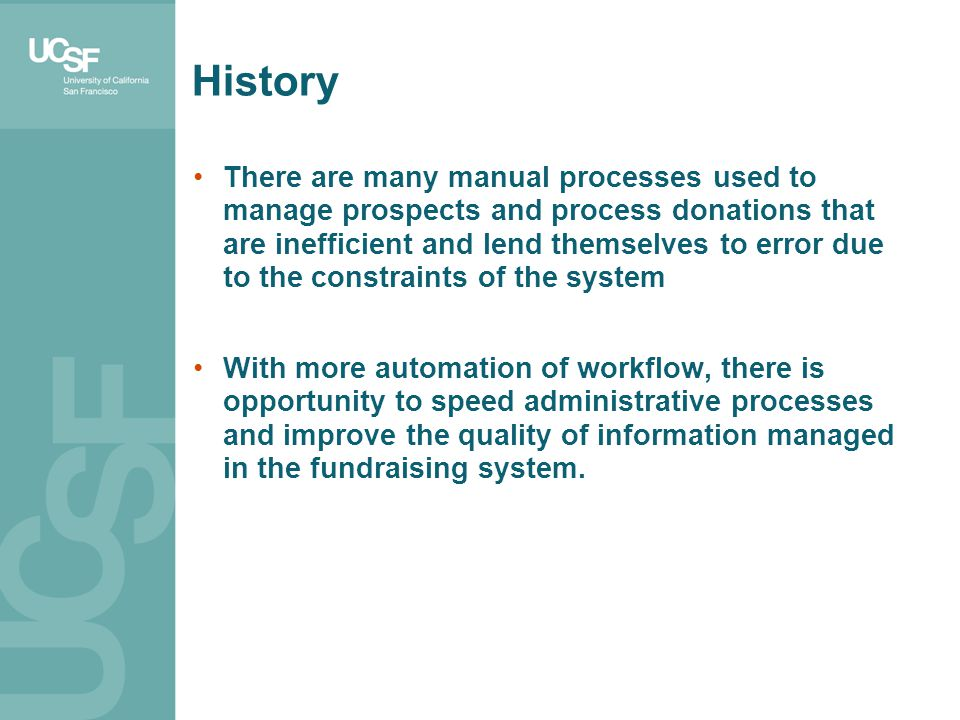 There are many manual processes used to manage prospects and process donations that are inefficient and lend themselves to error due to the constraint
