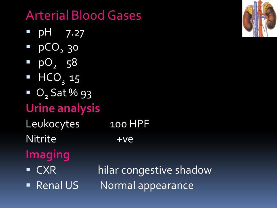 Arterial Blood Gases pH 7.27 pCO 2 30 pO 2 58 HCO 3 15 O 2 Sat % 93 Urine analysis Leukocytes 100 HPF Nitrite +ve Imaging CXR hilar congestive shadow