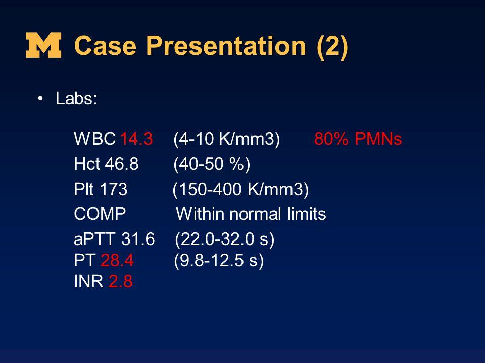 Case Presentation (2) Labs: WBC 14.3 (4-10 K/mm3) 80% PMNs Hct 46.8 (40-50 %) Plt 173 (150-400 K/mm3) COMP Within normal limits aPTT 31.6 (22.0-32.0 s