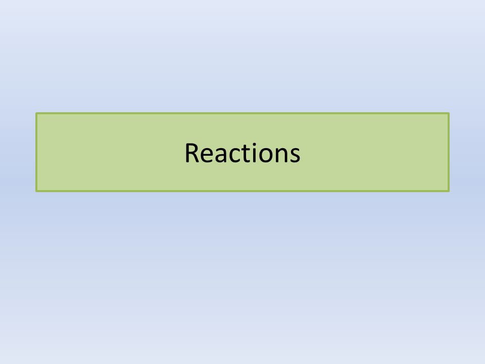 Five Main Types of Reactions Single Replacement Double Replacement Synthesis Decomposition Combustion http://www.youtube.com/watc h?v=tE4668aarck&safety_mod e=true&persist_safety_mode= 1&safe=active http://www.youtube.com/watc h?v=tE4668aarck&safety_mod e=true&persist_safety_mode= 1&safe=active