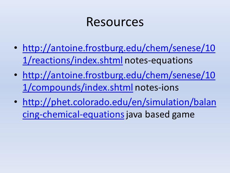 Resources http://antoine.frostburg.edu/chem/senese/10 1/reactions/index.shtml notes-equations http://antoine.frostburg.edu/chem/senese/10 1/reactions/