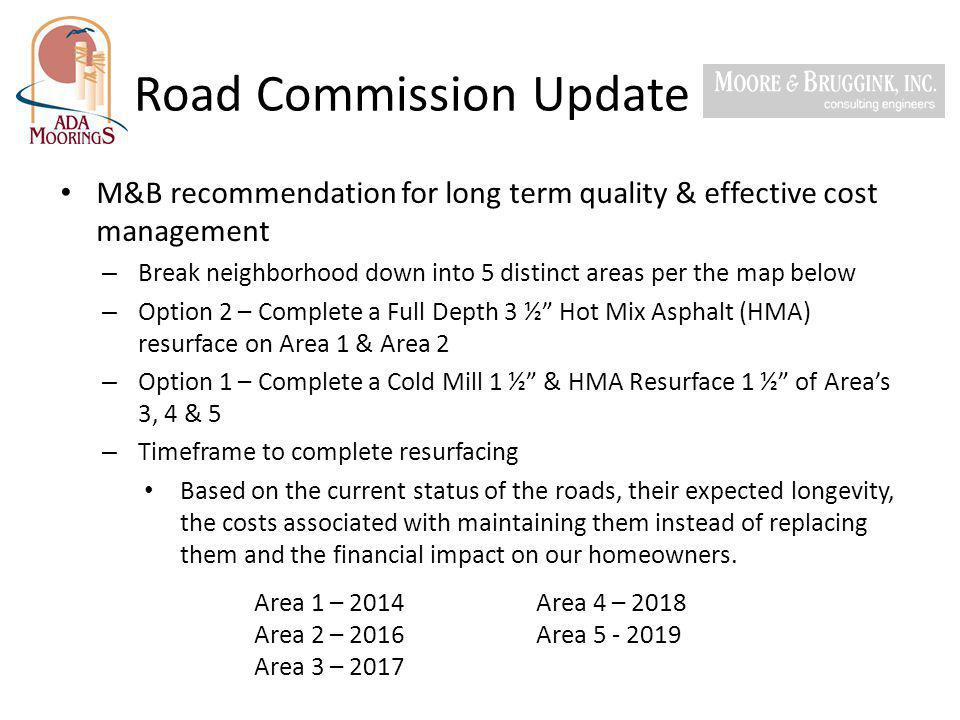Road Commission Update M&B recommendation for long term quality & effective cost management – Break neighborhood down into 5 distinct areas per the ma