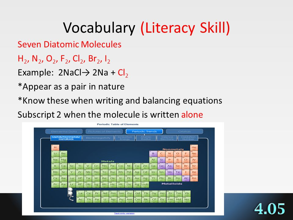 Vocabulary (Literacy Skill) Seven Diatomic Molecules H 2, N 2, O 2, F 2, Cl 2, Br 2, I 2 Example: 2NaCl 2Na + Cl 2 *Appear as a pair in nature *Know these when writing and balancing equations Subscript 2 when the molecule is written alone