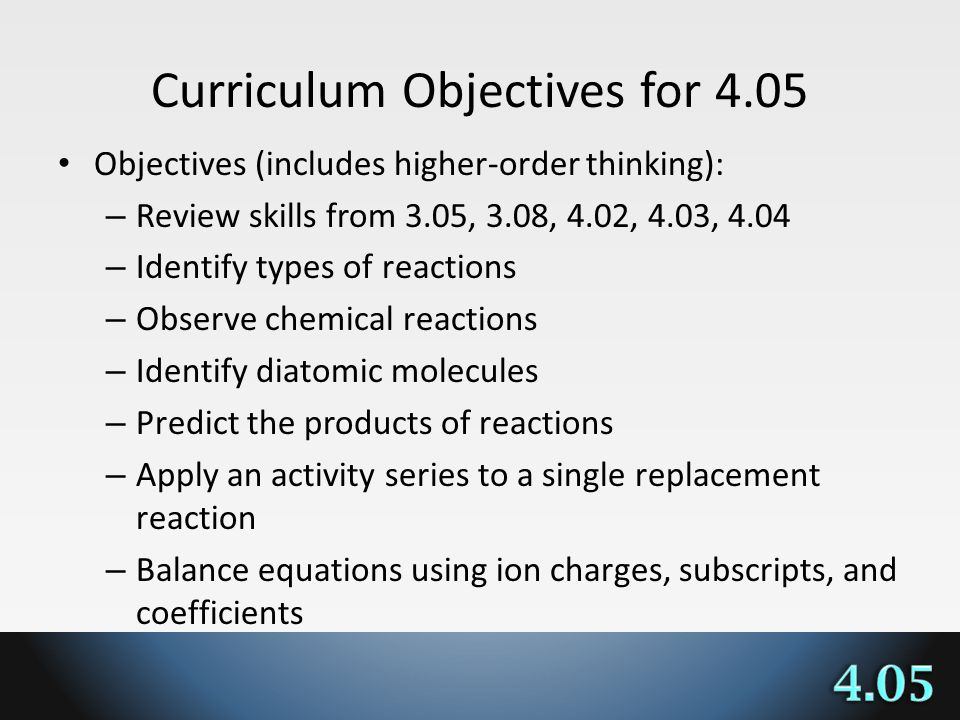 Curriculum Objectives for 4.05 Objectives (includes higher-order thinking): – Review skills from 3.05, 3.08, 4.02, 4.03, 4.04 – Identify types of reactions – Observe chemical reactions – Identify diatomic molecules – Predict the products of reactions – Apply an activity series to a single replacement reaction – Balance equations using ion charges, subscripts, and coefficients