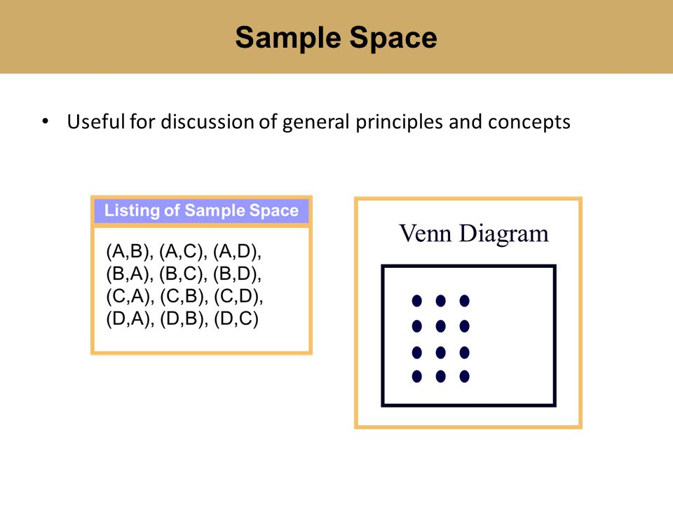 Useful for discussion of general principles and concepts Sample Space