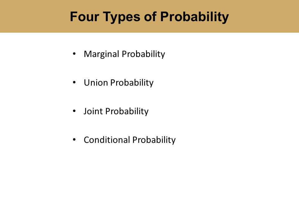 Marginal Probability Union Probability Joint Probability Conditional Probability Four Types of Probability