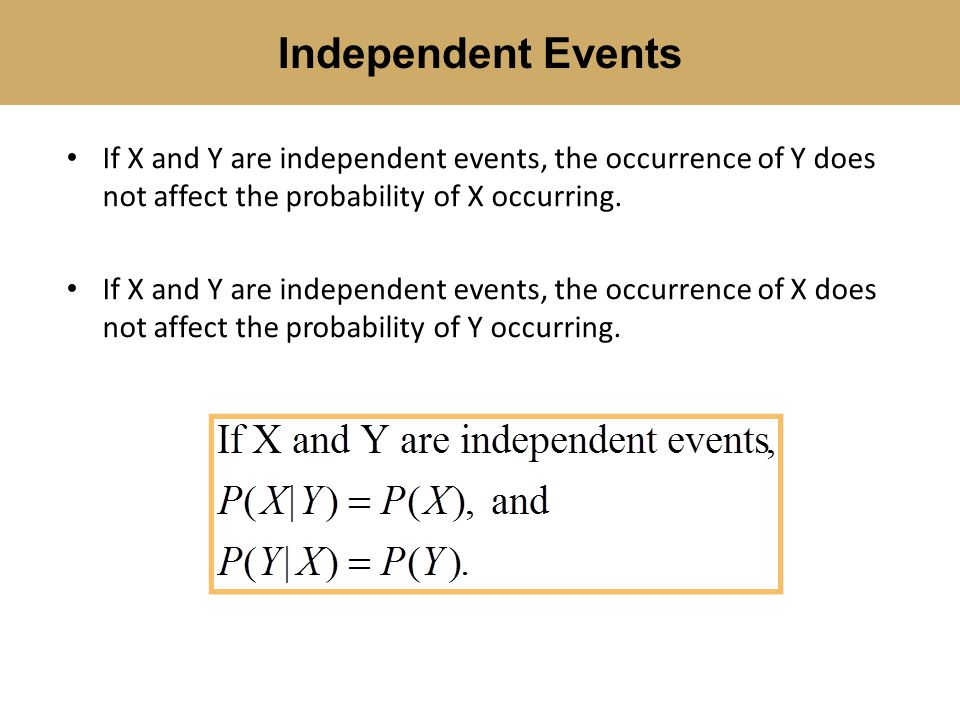 If X and Y are independent events, the occurrence of Y does not affect the probability of X occurring.