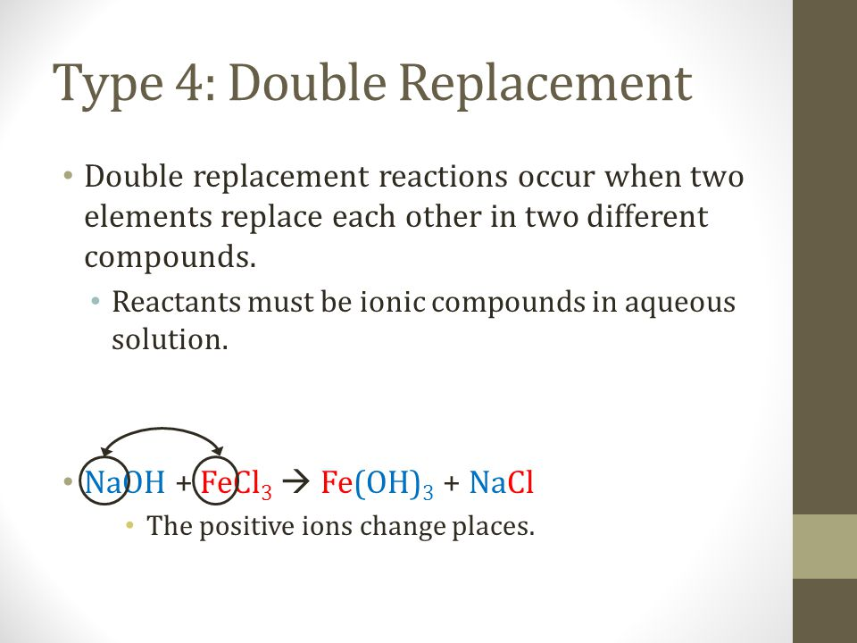 How to recognize each type: Look at the reactants: E + E = Combination C= Decomposition E + C= Single Replacement C + C= Double Replacement E = element; C = compound