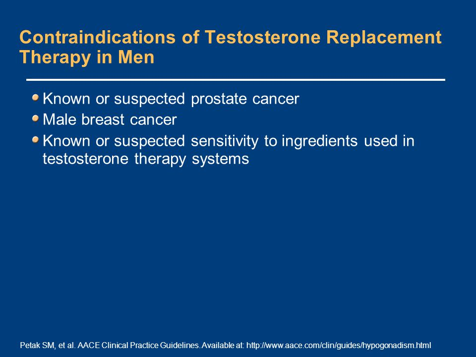 Contraindications of Testosterone Replacement Therapy in Men Known or suspected prostate cancer Male breast cancer Known or suspected sensitivity to ingredients used in testosterone therapy systems Petak SM, et al.