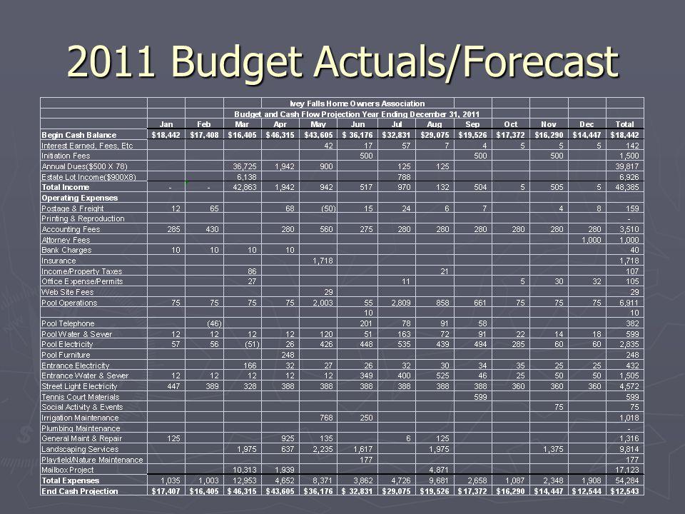 2011 Budget Actuals/Forecast