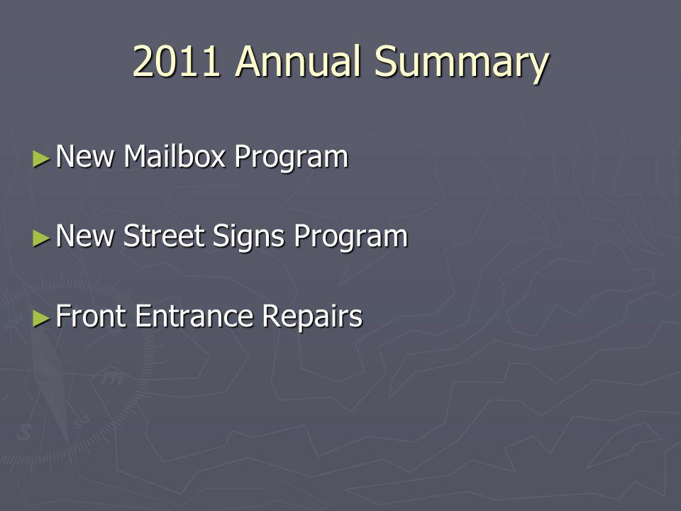 2011 Annual Summary New Mailbox Program New Mailbox Program New Street Signs Program New Street Signs Program Front Entrance Repairs Front Entrance Repairs