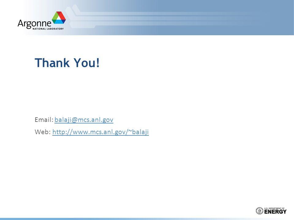 Thank You! Email: balaji@mcs.anl.govbalaji@mcs.anl.gov Web: http://www.mcs.anl.gov/~balajihttp://www.mcs.anl.gov/~balaji