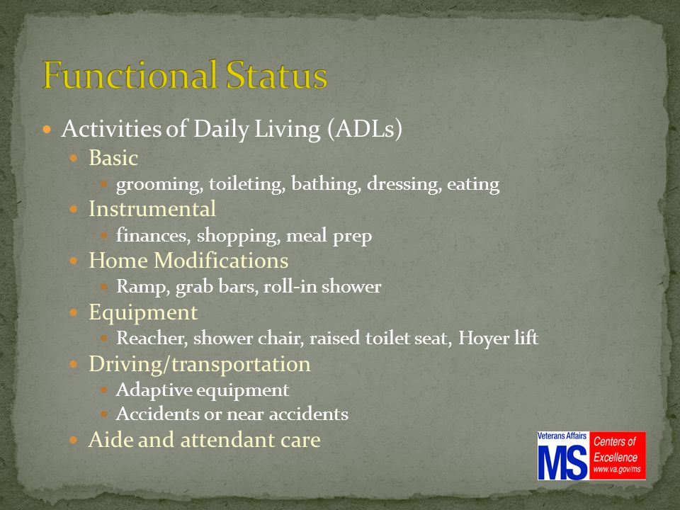 Activities of Daily Living (ADLs) Basic grooming, toileting, bathing, dressing, eating Instrumental finances, shopping, meal prep Home Modifications Ramp, grab bars, roll-in shower Equipment Reacher, shower chair, raised toilet seat, Hoyer lift Driving/transportation Adaptive equipment Accidents or near accidents Aide and attendant care