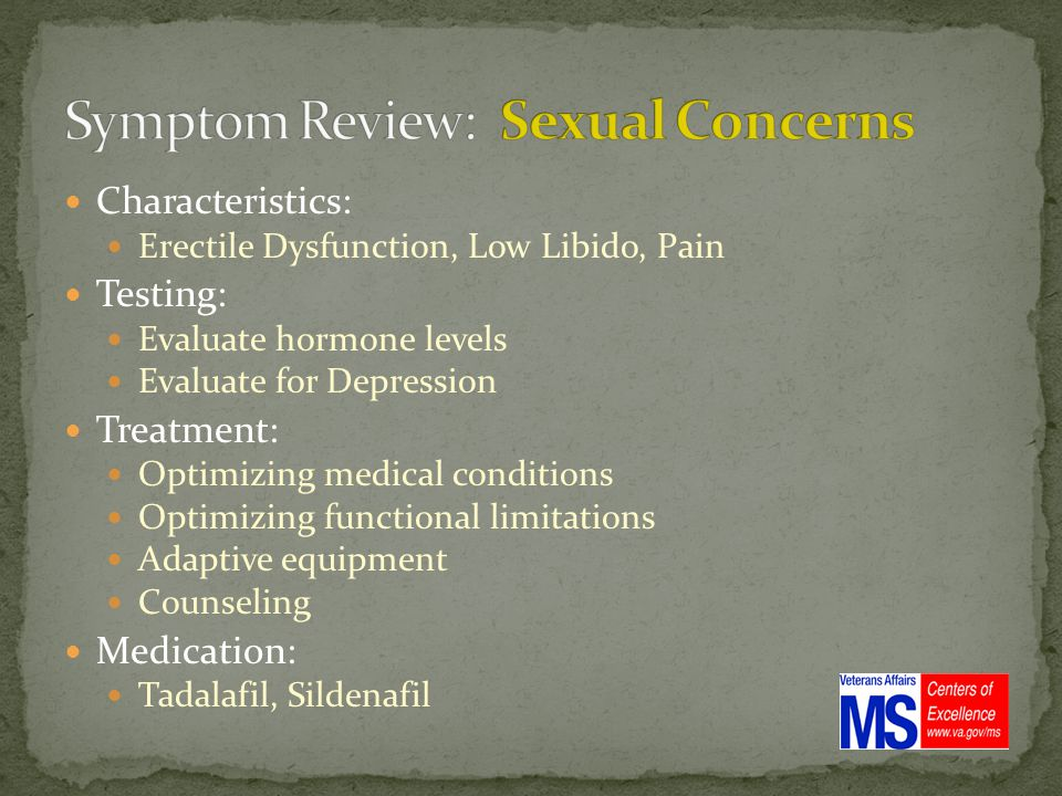 Characteristics: Erectile Dysfunction, Low Libido, Pain Testing: Evaluate hormone levels Evaluate for Depression Treatment: Optimizing medical conditions Optimizing functional limitations Adaptive equipment Counseling Medication: Tadalafil, Sildenafil
