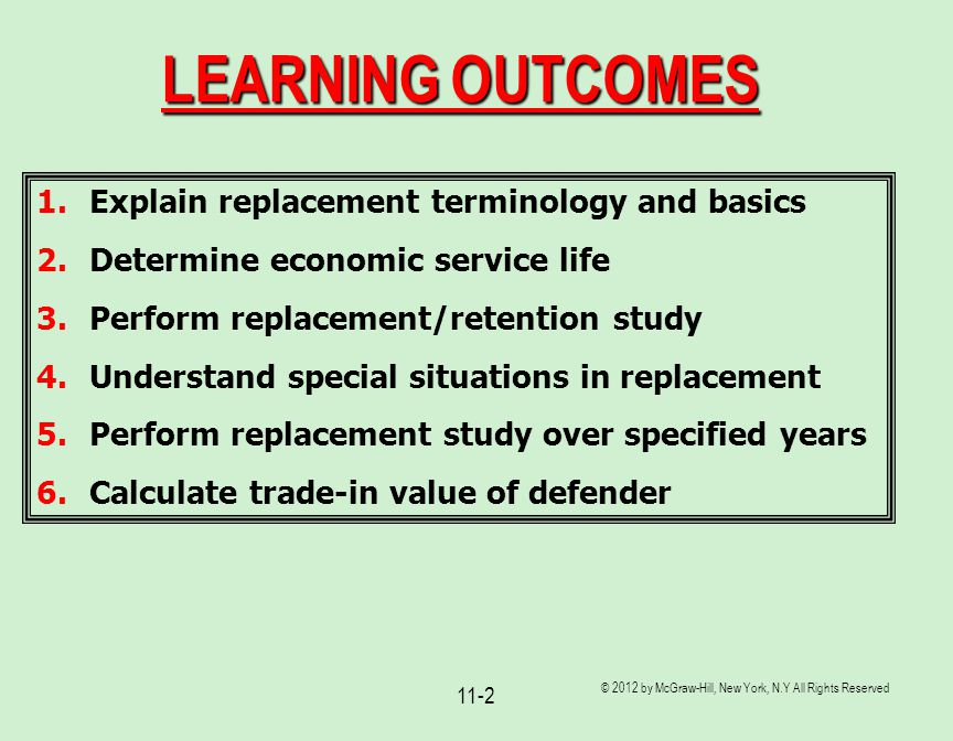 © 2012 by McGraw-Hill, New York, N.Y All Rights Reserved 11-2 LEARNING OUTCOMES 1.Explain replacement terminology and basics 2.Determine economic serv