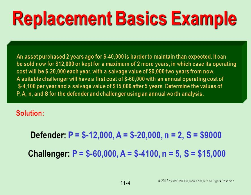 © 2012 by McGraw-Hill, New York, N.Y All Rights Reserved 11-4 Replacement Basics Example An asset purchased 2 years ago for $-40,000 is harder to main