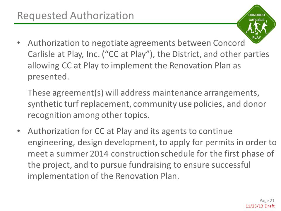 Requested Authorization Authorization to negotiate agreements between Concord Carlisle at Play, Inc.