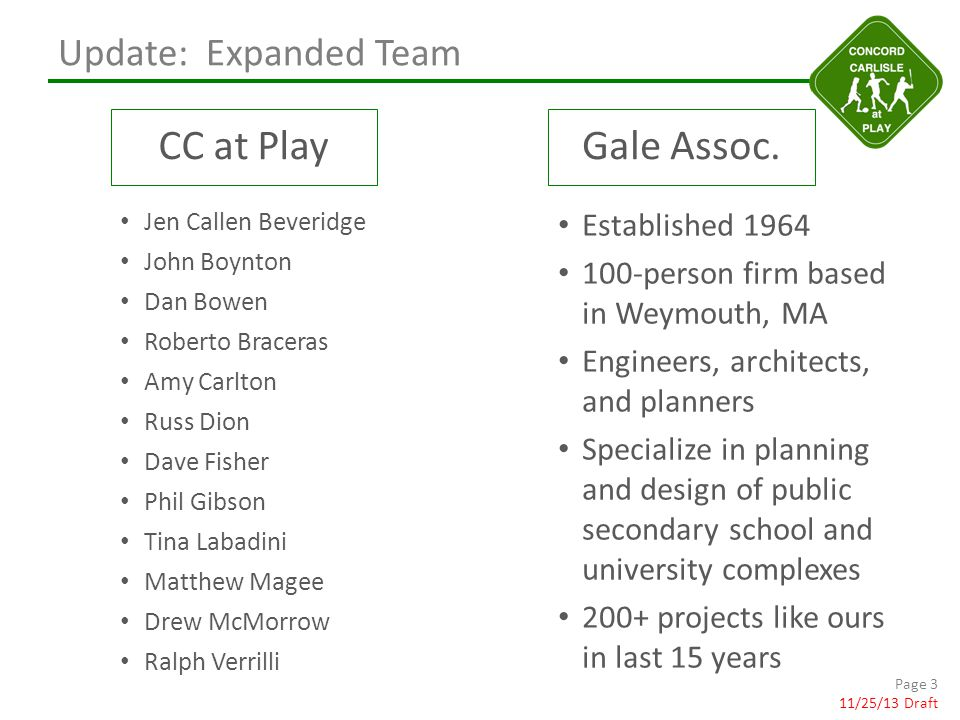 Update: Expanded Team CC at PlayGale Assoc.