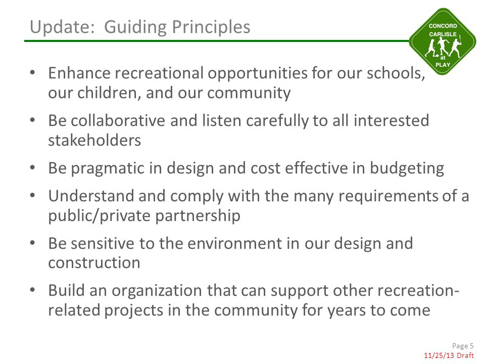 Update: Guiding Principles Enhance recreational opportunities for our schools, our children, and our community Be collaborative and listen carefully to all interested stakeholders Be pragmatic in design and cost effective in budgeting Understand and comply with the many requirements of a public/private partnership Be sensitive to the environment in our design and construction Build an organization that can support other recreation- related projects in the community for years to come Page 5 11/25/13 Draft