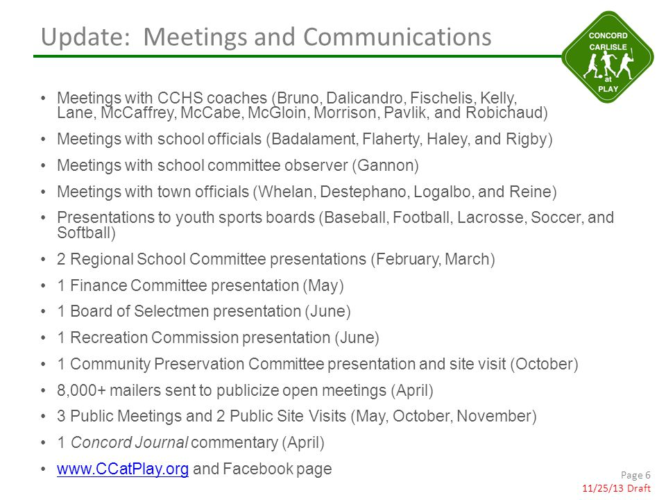 Update: Meetings and Communications Meetings with CCHS coaches (Bruno, Dalicandro, Fischelis, Kelly, Lane, McCaffrey, McCabe, McGloin, Morrison, Pavlik, and Robichaud) Meetings with school officials (Badalament, Flaherty, Haley, and Rigby) Meetings with school committee observer (Gannon) Meetings with town officials (Whelan, Destephano, Logalbo, and Reine) Presentations to youth sports boards (Baseball, Football, Lacrosse, Soccer, and Softball) 2 Regional School Committee presentations (February, March) 1 Finance Committee presentation (May) 1 Board of Selectmen presentation (June) 1 Recreation Commission presentation (June) 1 Community Preservation Committee presentation and site visit (October) 8,000+ mailers sent to publicize open meetings (April) 3 Public Meetings and 2 Public Site Visits (May, October, November) 1 Concord Journal commentary (April) www.CCatPlay.org and Facebook pagewww.CCatPlay.org Page 6 11/25/13 Draft