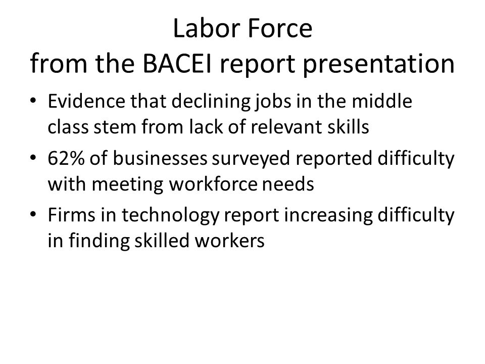 Labor Force from the BACEI report presentation Evidence that declining jobs in the middle class stem from lack of relevant skills 62% of businesses surveyed reported difficulty with meeting workforce needs Firms in technology report increasing difficulty in finding skilled workers